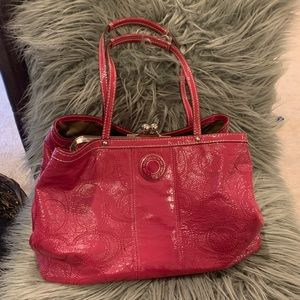 Coach Hot Pink Patent Leather Shoulser Bag Purse